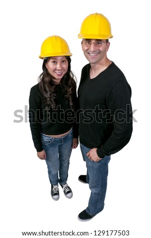 Man and Woman Construction Worker on a job site - stock photo