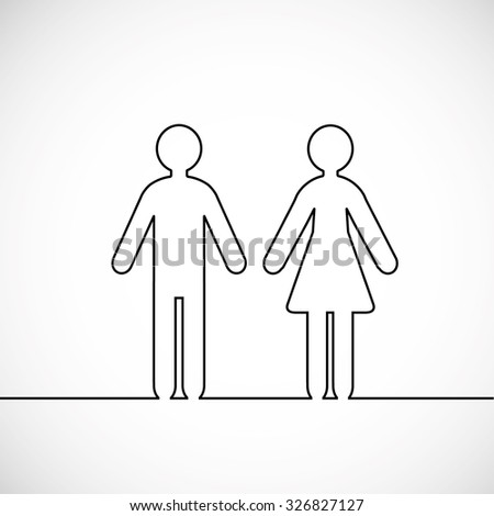 Man and woman contours and a place for text.  - stock photo