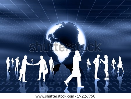 Man and woman doing worldwide business in virtual business place - stock photo