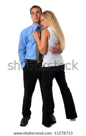 Man and woman embracing isolated over a white background - stock photo