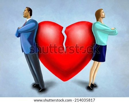 Man and woman facing opposite direction, standing in front of a broken heart. Digital illustration. - stock photo