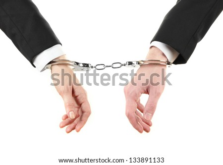 Man and woman hands and breaking handcuffs isolated on white background - stock photo
