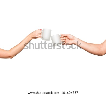 man and woman hands clinking cups - stock photo