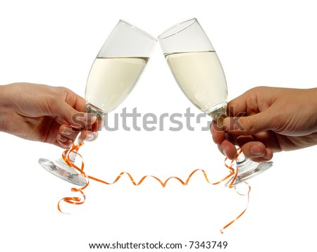 man and woman hands holding champagne glasses - stock photo