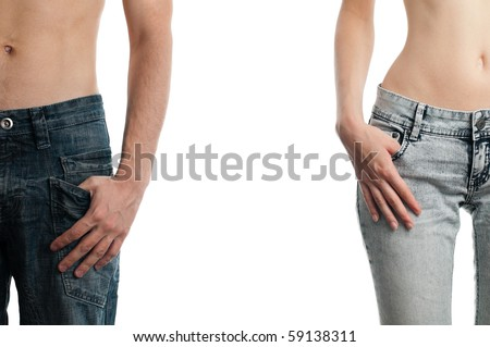 man and woman, hands in pockets of their jeans, isolated on white background - stock photo