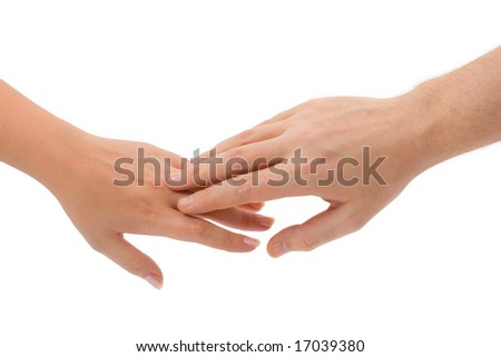 Man and woman hands isolated on white background - stock photo