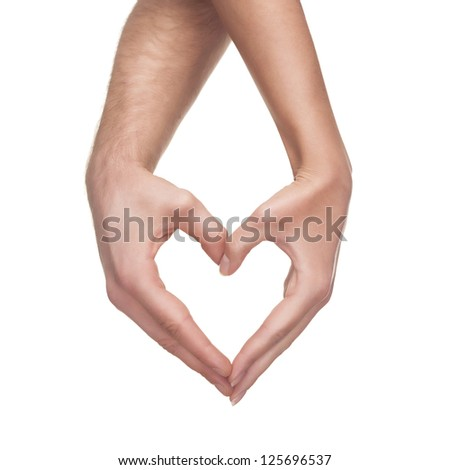 man and woman hands show heart gesture isolated on white background - stock photo