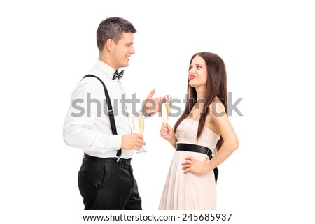 Man and woman having a conversation and drinking wine isolated on white background - stock photo