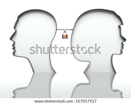 Man and woman heads profiles with padlock, concept of affection - stock photo