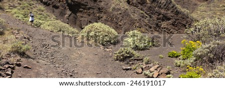 Man and woman hikers trekking in summer mountains.  on rocky mountain ridge looking at beautiful view. Hiking on volcano mountain over clouds, Tenerife Canary Islands  - stock photo