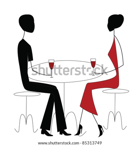 man and woman in a restaurant - stock photo