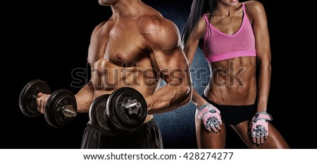 Man and woman isolated on a dark background - stock photo