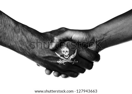 Man and woman shaking hands, isolated on white, Pirate - stock photo