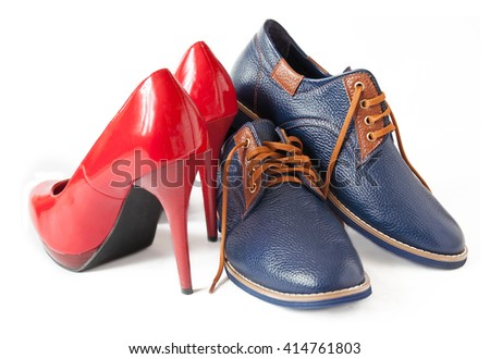 Man and woman shoes isolated on white background - stock photo