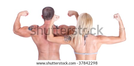 Man and woman showing who's back is bigger,close up - stock photo