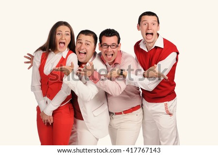 Man and woman team with funny faces isolated over white background - stock photo
