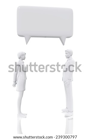 Man and woman with talk bubble symbol - stock photo