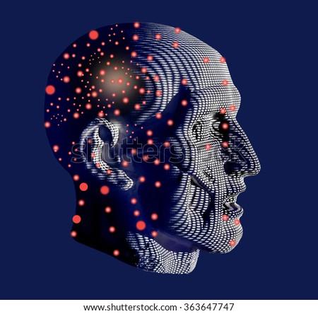Man android.Anatomic head cosmic man.Cosmic mind. - stock photo