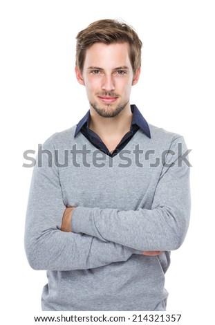 Man arm crossed - stock photo