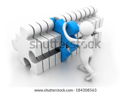 man arranging the important part - stock photo