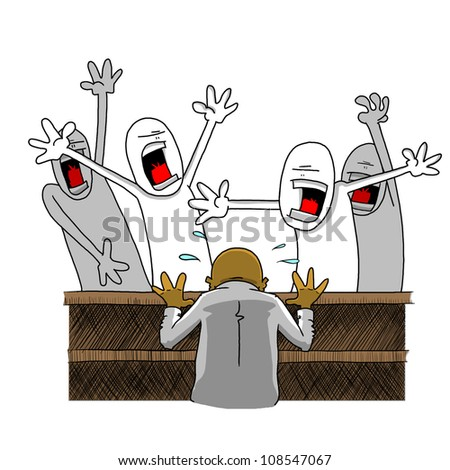 Man At Desk Confronted By Angry People - stock photo