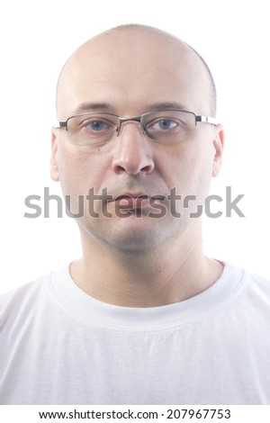 man at 38 wearing white t-shirt against white background wearing glasses  - stock photo