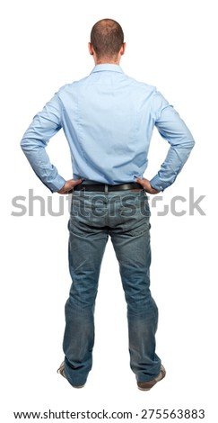 man back view isolated on white - stock photo