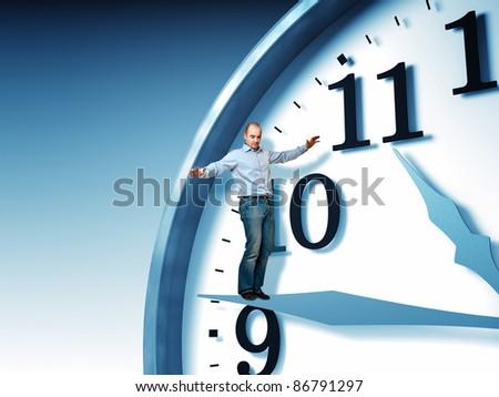 man balance on 3d clock - stock photo