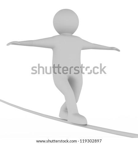 man balances on rope. Isolated 3D image - stock photo