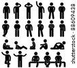 Man Basic Posture People Sitting Standing Icon Sign Symbol Pictogram - stock photo