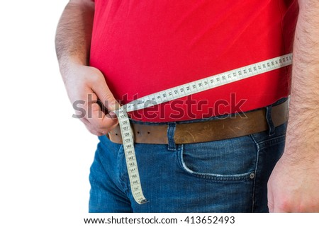 man, bear belly, overweight, tape measure - stock photo
