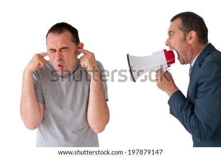 man being yelled at by manager on white - stock photo