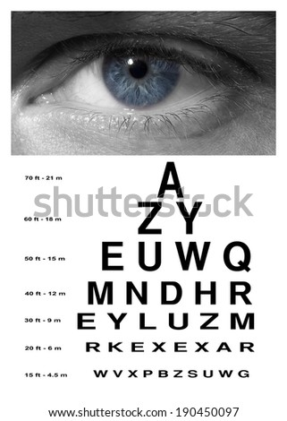 Man blue eye with test vision chart close up - stock photo