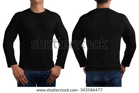 man body in black long sleeves t-shirt isolated on white background, front and back. - stock photo