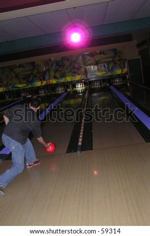 Man Bowling - stock photo