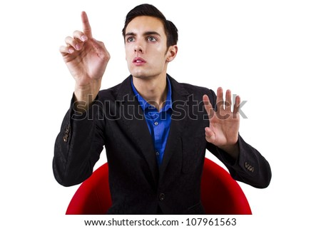 man browsing an imaginary touch screen (for composites) - stock photo