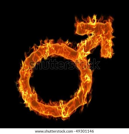 Man burning symbol - stock photo