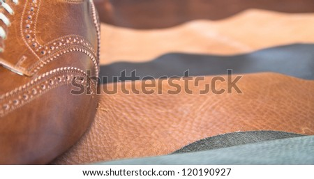 Man business shoe leather - stock photo