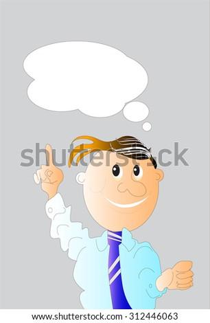 man business think cartoon - stock photo