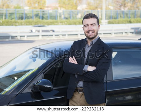 man car driving - stock photo