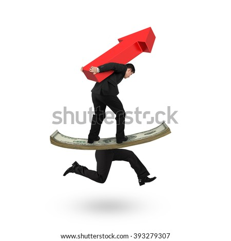 Man carrying red arrow up and balancing on running money with human legs, isolated on white background. - stock photo