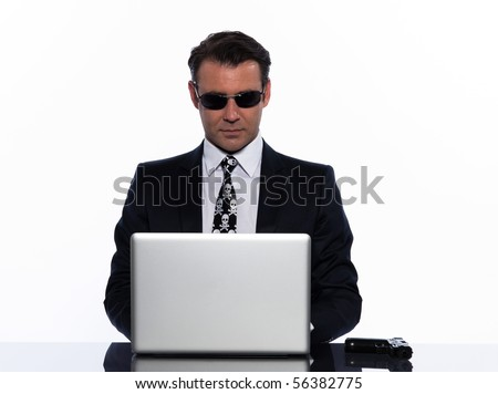 man caucasian computer hacking isolated studio on white backgroun - stock photo