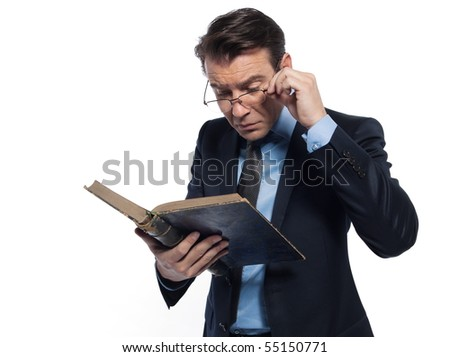 man caucasian professor historian lecturing ancient book isolated studio on white background - stock photo