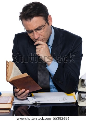 man caucasian teacher professor reading concentrated isolated studio on white background - stock photo