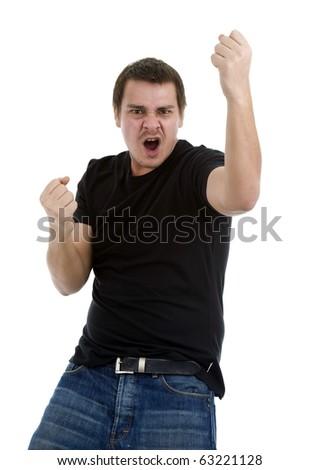 man celebrating his success, isolated on white background - stock photo
