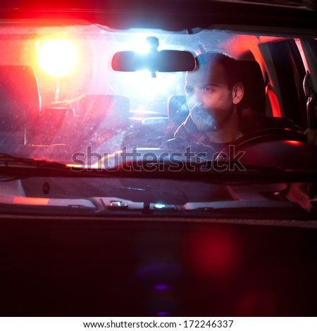 Man chaced and pulled over by police - stock photo