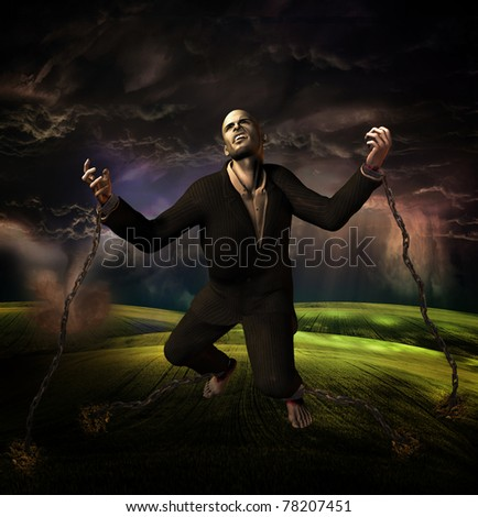 man chained to ground with storm in background - stock photo