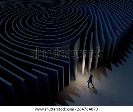 Man, character exploring, investigating entrance of fingerprint maze, 3d rendering - stock photo