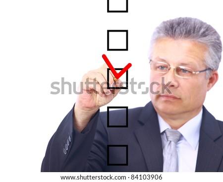 man choosing one of five options - stock photo