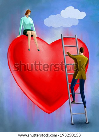 Man climbing a stair to reach for her lover. Digital painting. - stock photo